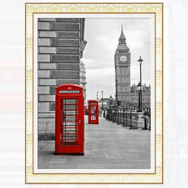 2019 5d Diy Diamond Painting Kits Red Phone Booth VM9403