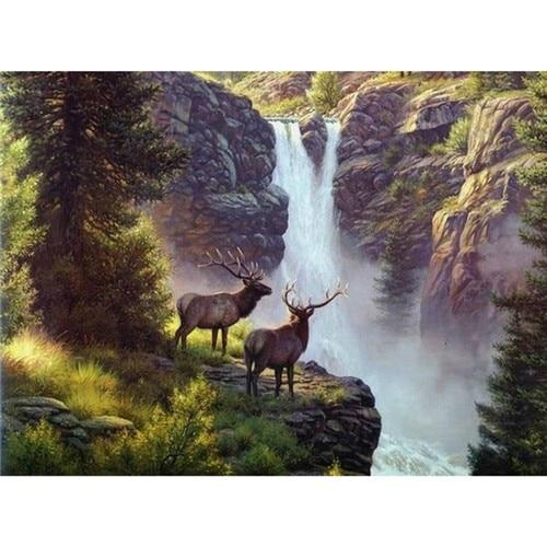 2019 5d Diy Diamond Painting Kits Mountain Waterfall VM9464