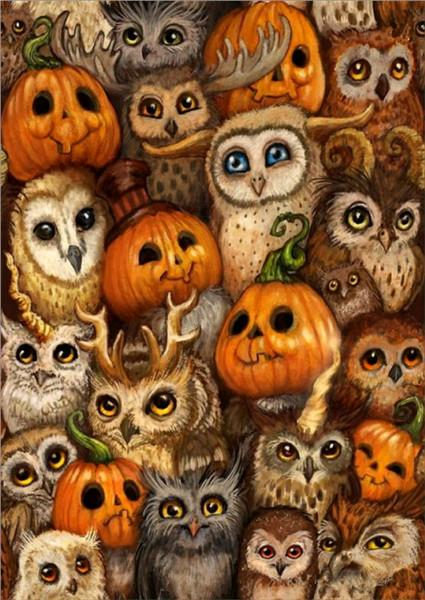 2019 5d Diy Diamond Painting Kits Pumpkin And Owl VM8053