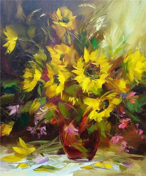 2019 5d DIY Diamond Painting Kits Oil Painting Style Beautiful Yellow Flower  VM1991