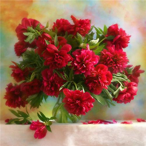 5d Diy Diamond Painting  Beautiful Red Flower  VM1981