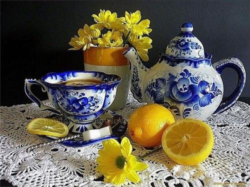 2019 5d DIY Diamond Painting Yellow Flowers And Chinese Tea Cap Set VM1994