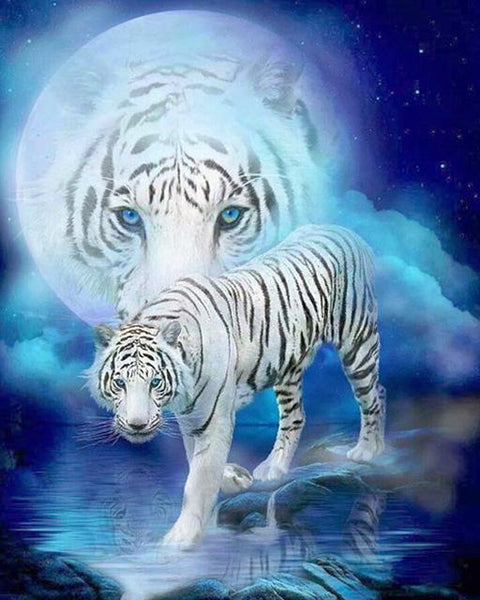 5d Diy Diamond Painting Set Dream Tiger Portrait VM7760