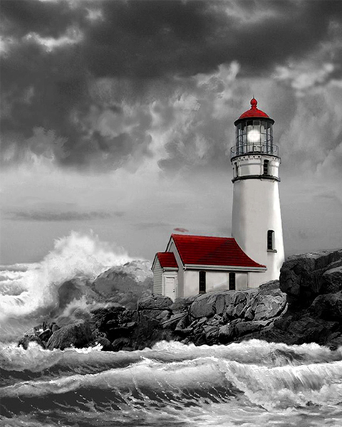 2019 5d Diy Diamond Painting Kits Lighthouse Seaside Landscape  VM9052