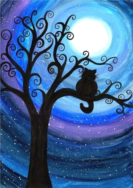 Hot Sale Dream Diamond Cartoon Moon Cat Tree 5d Diy Diamond Painting Kits VM9421