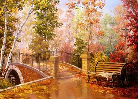 5d Diy Diamond Painting Kits Autumn Forest Bridge VM9223