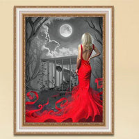 Hot Sale Red Girl Picture Wall Decor 5d Diy Diamond Painting Kits VM9493