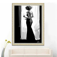 2019 5D Diy Diamond Painting Kits Black and White Woman VM9489