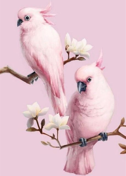5D  Diy Diamond Painting Cross Stitch Pink Parrot Kits VM7717