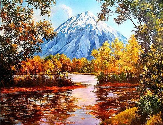 2019 5d Diy Diamond Painting Kits Autumn Mountain Lake VM20032