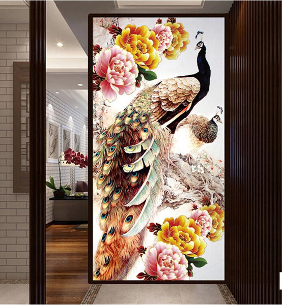 Large Size Home Decor Colored Peacock 5d Diy Rhinestone Painting Kit VM1304 (1766955745370)