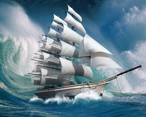 2019 5d Diy Diamond Painting Kits  White Sea Sailing  VM19529