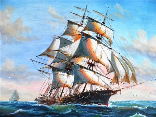 2019 5d Diy Diamond Painting Kits Oil Painting Style Vintage Sailing Boat VM9527