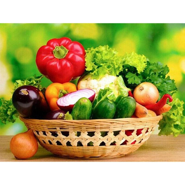 5D DIY Diamond Painting Kits Embroidery Mosaic Fruit Vegetable Basket VM92162