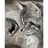 5d Diy Diamond Painting Black And White Cat And Butterfly VM1090 (1766936871002)