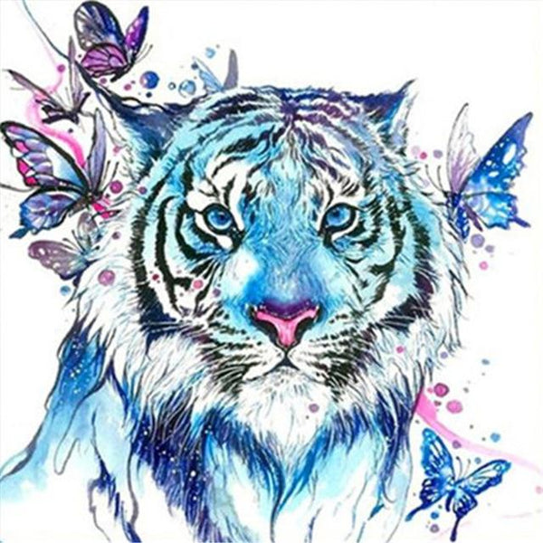 Colorful Watercolor Tiger And Butterfly Cheap Kit Diamond Painting 5d VM1356
