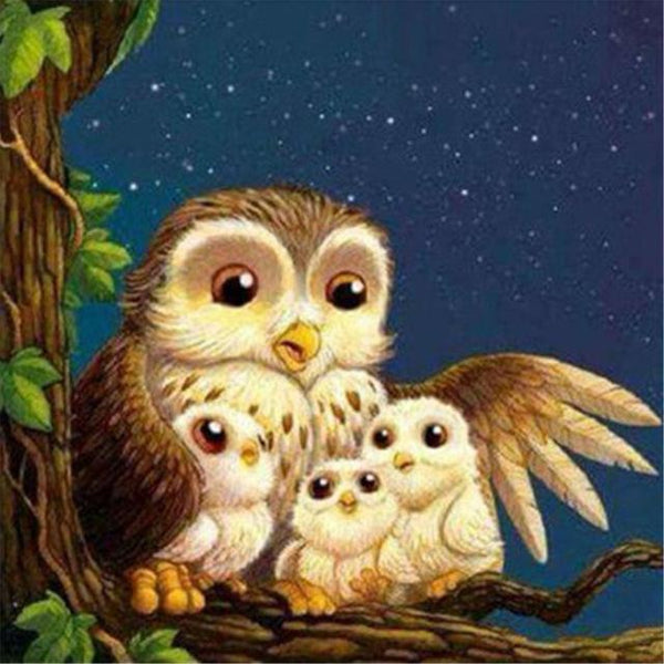 5d Diamond Painting Cartoon Cute Owl Family Kits VM1354 (1766949847130)
