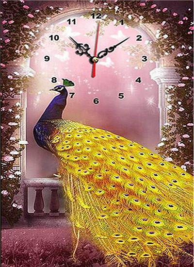 5d Diy Diamond Painting Kits Special Animal Peacock Clock VM8163
