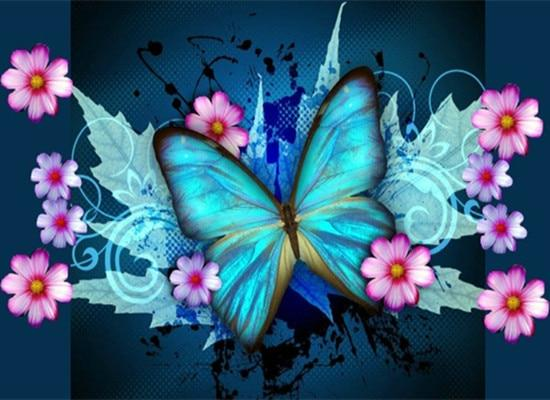 5d Diy Diamond Painting Kits  Butterfly And Flowers  VM9022