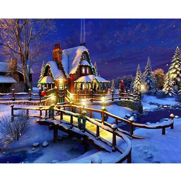 2019 5d Diy Diamond Painting Kits Winter Landscape Snow Cottage VM8134