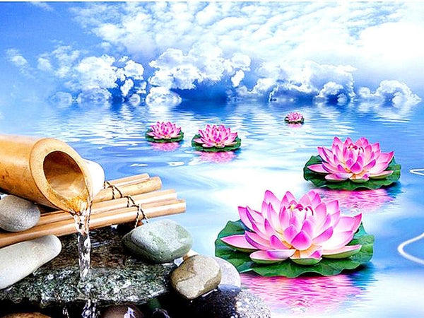 Oil Painting Style Lotus 5D Diy Embroidery Diamond Painting Kits NA0156