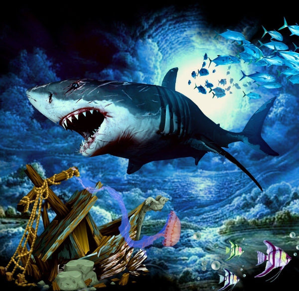 Modern Art Full Square Drill Shark 5d Diy Diamond Painting Kits NA0394