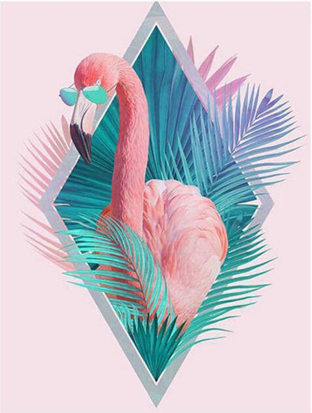 Funny Full Square Diamond Flamingo Cross Stitch Diamond Painting Kits NA0369