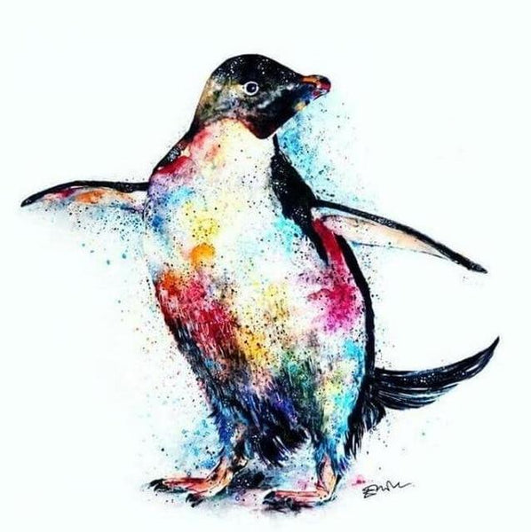 5d Diy Diamond Painting  Watercolor Bedazzled Penguin NA0431