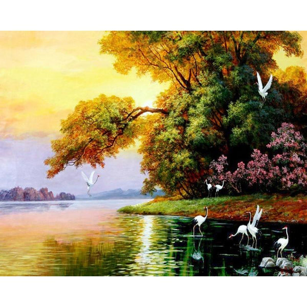 Oil Painting Style Crane And Swans In Lake 5D Diy Diamond Painting Kits NA00069