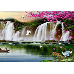 5D Diy Cross Stitch Diamond Painting Kits Waterfall Crane NA0069