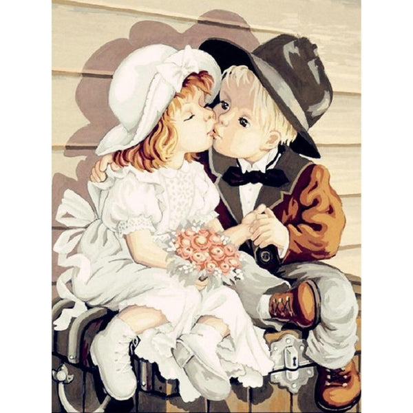 Oil Painting Style Boy And Girl 5d Diy Embroidery Diamond Painting Kits NA0971