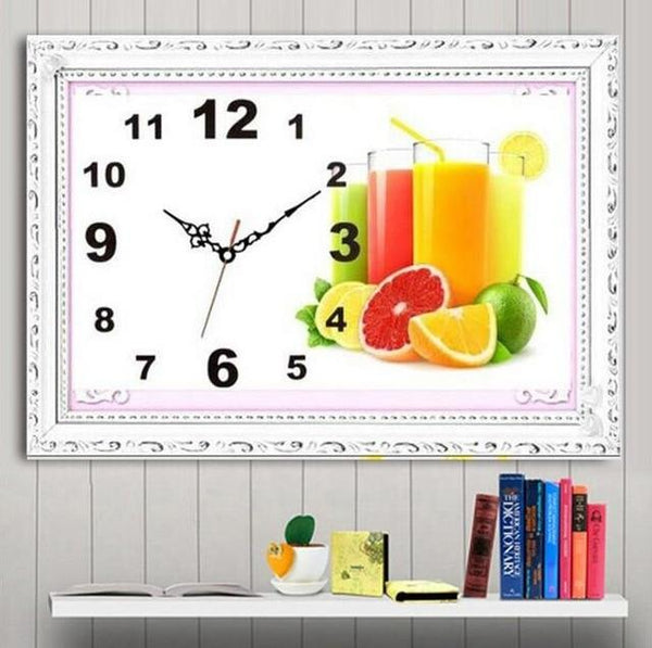 Large 2019 Wall Fruit Clock 5D DIY Diamond Painting Embroidery Kits NB0305