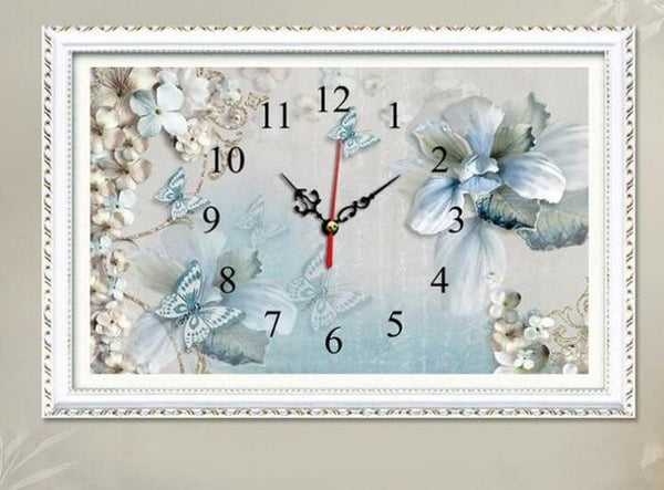 5D DIY Diamond Painting Kits Special Flower Clock  NB0308