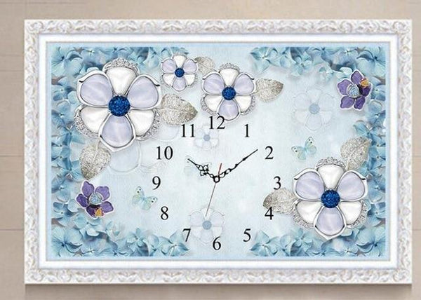Large 2019 Wall Flower Clock 5D DIY Diamond Painting Cross Stitch Kits NB10308