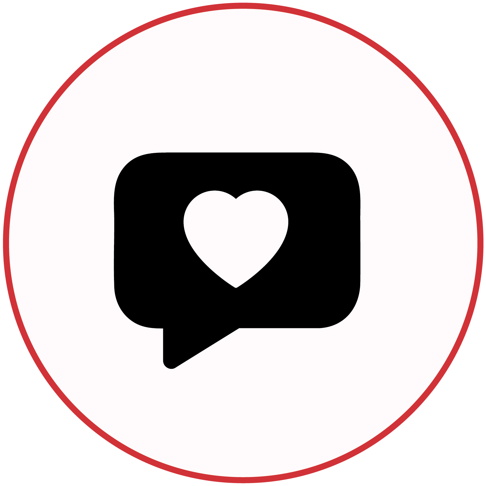 A black icon of a speech bubble with a heart
