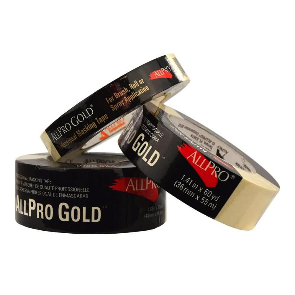 Allpro gold masking tape, available at Johnson Paint & Maine Paint in MA, NH & ME.