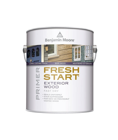 Benjamin Moore Fresh Start exterior wood primer available at Johnson Paint & Maine Paint in MA, NH & ME.