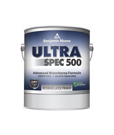 Benjamin Moore Ultra Spec 500 Interior Latex Primer, available at Johnson Paint & Maine Paint in MA, NH & ME.