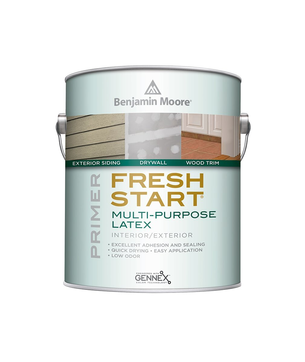 Benjamin Moore Fresh Start multi-purpose latex primer, available at Johnson Paint & Maine Paint in MA, NH & ME.