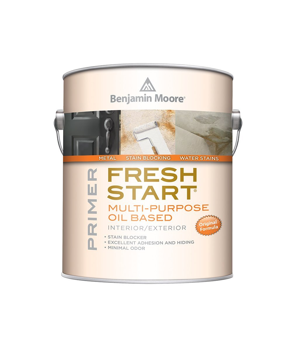 Benjamin Moore Fresh Start multi-purpose oil-based primer, available at Johnson Paint & Maine Paint in MA, NH & ME.