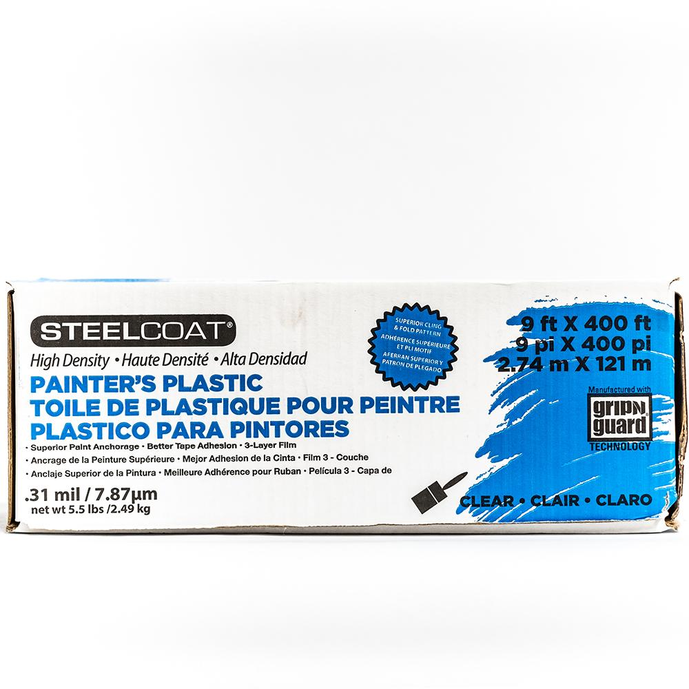 Steelcoat painter's plastic, available at Johnson Paint and Maine Paint in MA, NH & ME.
