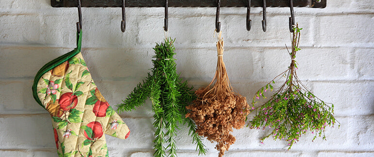 Herbs hanging t dry in kitchen