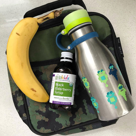 Backpack with Banana and GaiaKids Black Elderberry Syrup