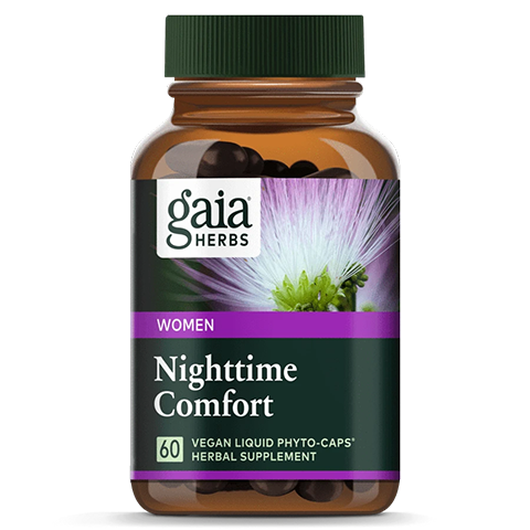 Gaia Herbs Nighttime Comfort—made with a blend of Black Cohosh, Mimosa, Passionflower, and St. John's Wort