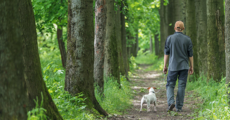Man walking his dog outside for self care