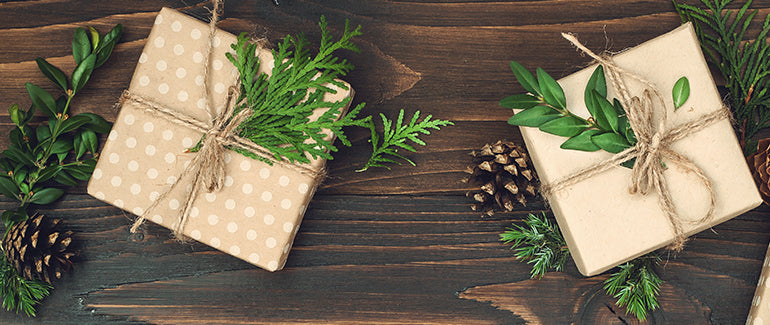 Sustainable Wrapping paper with pine cones and needles