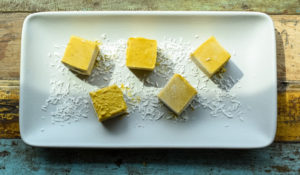 Tropical Turmeric Paleta cubes on Tray