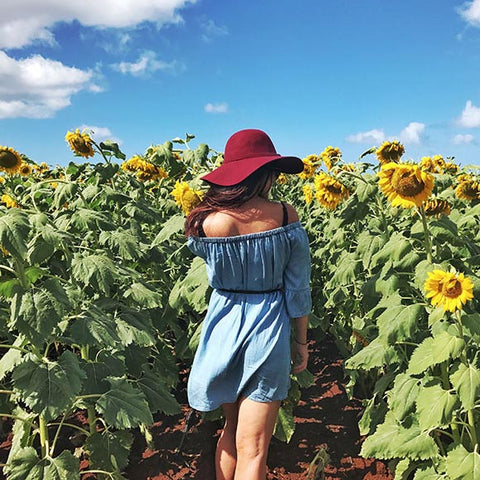 woman wearing red hat walking through sunflower fields