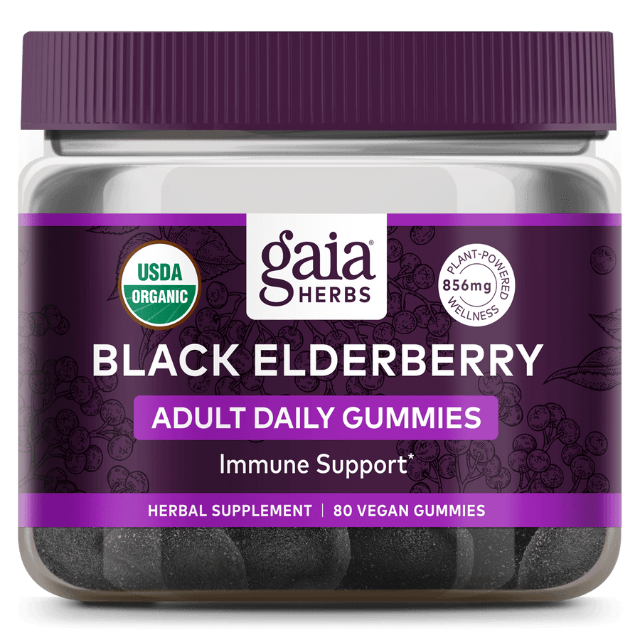 Gaia Herbs Black Elderberry Adult Daily Gummies for Immune Support || 80 ct