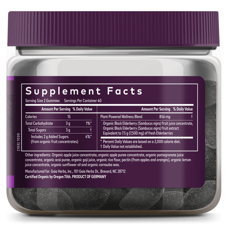 Gaia Herbs Black Elderberry Adult Daily Gummies for Immune Support Supplement Facts || 80 ct